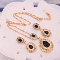 Wanita Berlian Buatan Rantai Kalung Liontin Kristal Anting-Anting Perhiasan Set Hitam Satu Ukuran-Internasional
