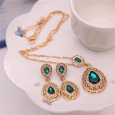 Wanita Berlian Buatan Rantai Kalung Liontin Kristal Anting-Anting Perhiasan Set Hijau Satu Ukuran-Internasional