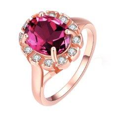 Cincin Wanita Warna Rose Gold Berlapis Zircon Merah dengan Bentuk Oval Bertatahkan Kristal Mengkilau Zicron Rhinestone