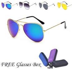 Wanita Round Bentuk Retro Couple Lover Kacamata Anti-UV Outdoor Eyewear Besar dengan Kotak Kacamata-Intl