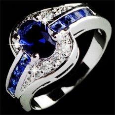 Women Safir Putih Emas Diisi Cincin Pertunangan Perhiasan Biru Ukuran 9-Intl