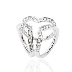 Wanita Syal Gesper Aksesoris Sederhana Tiga Ring Crystal Selendang Buckle Silver By-Intl