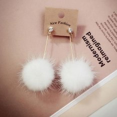 Wanita Sederhana Unik Bulu Lembut Bola Pom Panjang Earrings Ear Dangle Hadiah Perhiasan