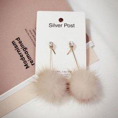 Wanita Sederhana Unik Bulu Lembut Bola Pom Panjang Earrings Ear Dangle Perhiasan Hadiah-Intl