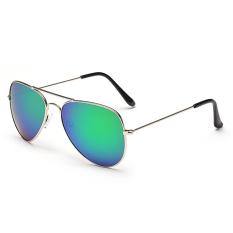 Kacamata Hitam Fashion Wanita Olahraga Bulat Aneka Handsome Lensa Kacamata Hitam (emas Hijau)