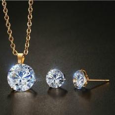 Toko Wanita Stainless Steel Putih Zirkon Kalung Anting Tindik Set Perhiasan Tiongkok