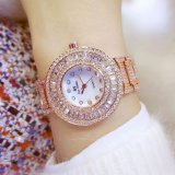 Wanita Mahasiswa Fashion Mewah Fritillaria Permukaan Berlian Imitasi Diamond Digital Gelang Watch Rose Gold Intl Asli