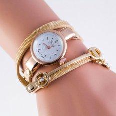Spek Wanita Musim Panas Gaya Leather Casual Metal Bracelet Watch Wristwatch Dress Hadiah Intl