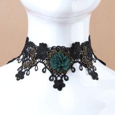 Wanita Vintage Lolita Gothic Black Lace Flower Necklace Palsu Collar Choker