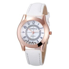 Wanita Rose Gold Metal Case Kulit Watchband Slip Diamonds QUARTZ Watch Warna: Putih-Intl