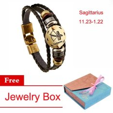 Ulasan Tentang Wanita Pria Vintage Perhiasan 12 Konstelasi Charm Bracelet Cuff Chain Sagittarius Gelang Multi Lapisan Pasangan Kulit Tanda Zodiak Persahabatan Bangle Gelang Intl