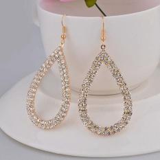 Jual Womens Crystal Rhinestone Water Drop Menjuntai Hoop Earrings Gd Intl Murah Tiongkok