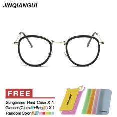 Wanita Kacamata Fashion Lingkaran Retro Klasik Kacamata Kaca Mata Bingkai Hitam Polos untuk Miopia Wanita Bingkai
