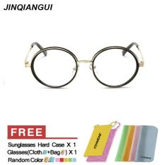 Miliki Segera Women S Eyewear Fashion Vintage Retro Round Glasses Brightblack Frame Glasses Plain For Myopia Women Eyeglasses Optical Frame Glasses Oculos Femininos Gafas Intl
