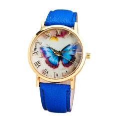 Womens Fashion Butterfly Style Kulit Band Analog QUARTZ Jam Tangan Biru Gratis Pengiriman-Intl