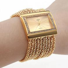 Fashion Wanita Gelang Perhiasan Berlian Kuarsa Kasus Paduan Emas