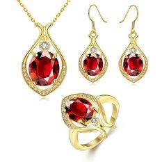 Wanita Emas Plated Earrings Kalung Cincin dengan Waterdrop Zircon Brass Jewelry Set Party Glisten