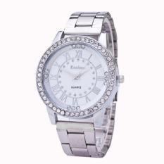 Beli Wanita Pria Crystal Rhinestone Stainless Steel Analog Quartz Wrist Watch Silver Intl Kanima