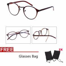 Wanita Kacamata Optik Kacamata Biasa Kacamata Lensa Jernih Eyeglassess + 2 Bags