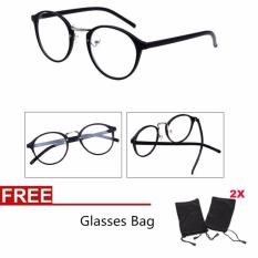Wanita Optik Kacamata Polos Kacamata Jelas Lensa Kacamata Eyeglassess + 2 Kantong