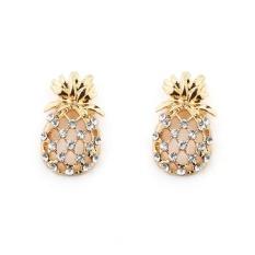 Kekuatan Luar Biasa 1 Pair Baru Modis Kepribadian Perak Gold Kristal Pineapple Anting-Anting Berlian Imitasi Indah Wanita-Gold Satu Ukuran -Internasional