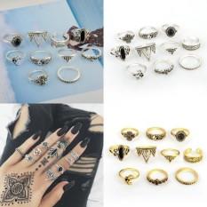 Wonderful Power 10 Pcs/set Brand New Women Fashion Black Gem Yoga Ring Set Gossip Retro Crystal Crown Carved Moon Star gold&silver-Silver- - intl