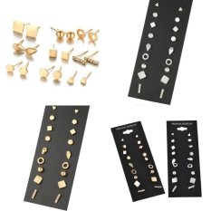 Kekuatan Luar Biasa 9 Pairs/set Terbaru Produk Panas Berlian Buatan Earring Set Wanita Perhiasan Stud Anting-Anting Feminim Kecil Gold Perak Geometric Telinga manik-manik-Gold-Satu Ukuran-Internasional