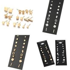 Kekuatan Luar Biasa 9 Pairs/set Terbaru Produk Panas Berlian Buatan Earring Set Wanita Perhiasan Stud Anting-Anting Feminim Kecil Gold Perak Geometric Telinga manik-manik-Perak-Satu Ukuran-Internasional