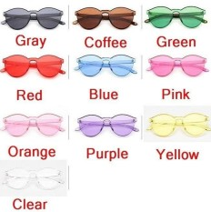 Wonderful Power Big Discounts 10 colors HOT Integrated UV Candy Colored Glasses Women Fashion Cat Eye Shades Sunglasses -Blue-Int:One Size - intl
