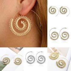 Kekuatan Luar Biasa (Gold ᆪᆲsilverᆪᆲbronze) merek Baru Modis Antik Gold/Perak Perhiasan Aksesoris Berlapis Spiral Jantung Paduan Berbentuk Dangle Earring Pesona Wanita Unik pesta Giwang-Bronze-Onesize-Internasional