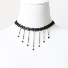Wondershop Kemeja Atasan Wanita Retro Modis Perhiasan Gothic Gaya Fringed Merenda Renda Choker Kalung-Internasional