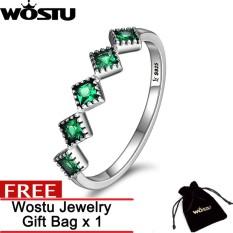 Wostu Asli 925 Sterling Perak Elegance Persegi Geometris Zamrud Hijau Kesegaran Cincin untuk Wanita Pernikahan Perhiasan Hadiah ZBSCR097-Internasional