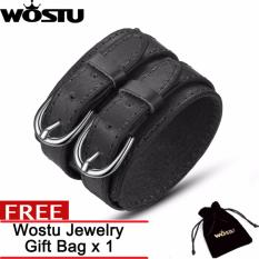 Harga Wostu Fashion Double 3 Warna Belt Leather Wrist Persahabatan Besar Lebar Gelang Untuk Pria Atau Wanita Gesper Vintage Punk Perhiasan Hadiah Zbc0268 New