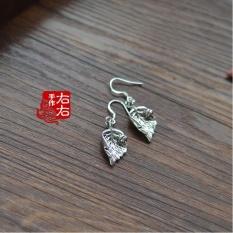 WSmall Asli Paduan Perak Tibet Daun Ladybug dengan Red Agateearrings Kuno Klasik Temperamen Anting-Anting Lucu-Intl