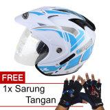 Diskon Wto Helmet Impressive Vegas Putih Biru Promo Gratis Sarung Tangan Wto Helmet Di Indonesia