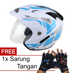 Jual Wto Helmet Impressive Vegas Putih Biru Promo Gratis Sarung Tangan Wto Helmet Branded