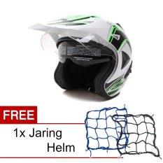 Harga Wto Helmet Pro Sight Cross Putih Hijau Promo Gratis Jaring Helm Seken