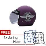 Jual Wto Helmet Retro Bogo 66 Violet Doff Promo Gratis Jaring Helm Branded Original