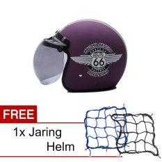 Beli Wto Helmet Retro Bogo 66 Violet Doff Promo Gratis Jaring Helm
