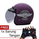 Promo Wto Helmet Retro Bogo 66 Violet Doff Promo Gratis Sarung Tangan