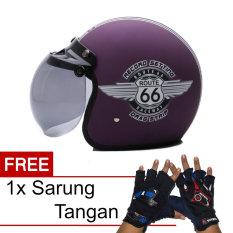 Toko Wto Helmet Retro Bogo 66 Violet Doff Promo Gratis Sarung Tangan Terlengkap