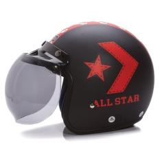 Jual Wto Helmet Retro Bogo All Star Hitam Doff Merah Satu Set