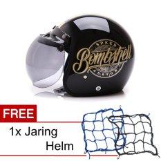WTO Helmet Retro Bogo - Bombshell - Hitam Gold + Promo Gratis Jaring Helm