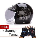 Promo Toko Wto Helmet Retro Bogo Born To Ride Hitam Promo Gratis Sarung Tangan