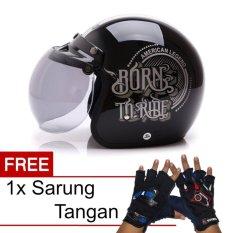 Review Pada Wto Helmet Retro Bogo Born To Ride Hitam Promo Gratis Sarung Tangan