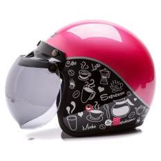 Toko Wto Helmet Retro Bogo Classic Coffee Hitam Pink Termurah Di Banten