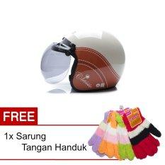 Cara Beli Wto Helmet Retro Bogo Classic Cream Cokelat Promo Gratis Sarung Tangan Handuk