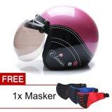 Wto Helmet Retro Bogo Classic Pink Hitam Promo Gratis Masker Terbaru