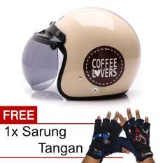 Jual Wto Helmet Retro Bogo Coffee Lovers Krem Promo Gratis Sarung Tangan Wto Helmet