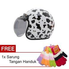 Beli Wto Helmet Retro Bogo Cow Putih Promo Gratis Sarung Tangan Handuk Yang Bagus